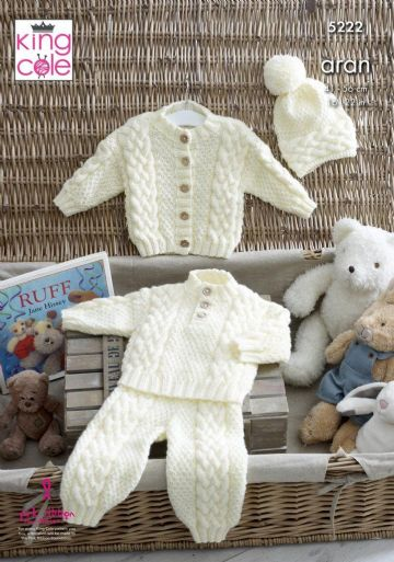 King Cole Aran Knitting Pattern - Baby Sweater, Jacket, Trousers & Hat (5222)
